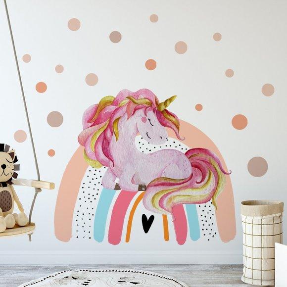 Sleeping Unicorn on Rainbow With Dots Wall Decal